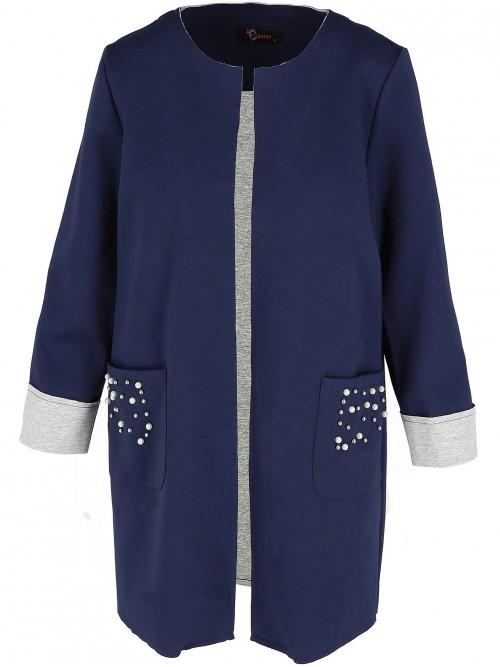Lekki bawełniany płaszcz z perełkami