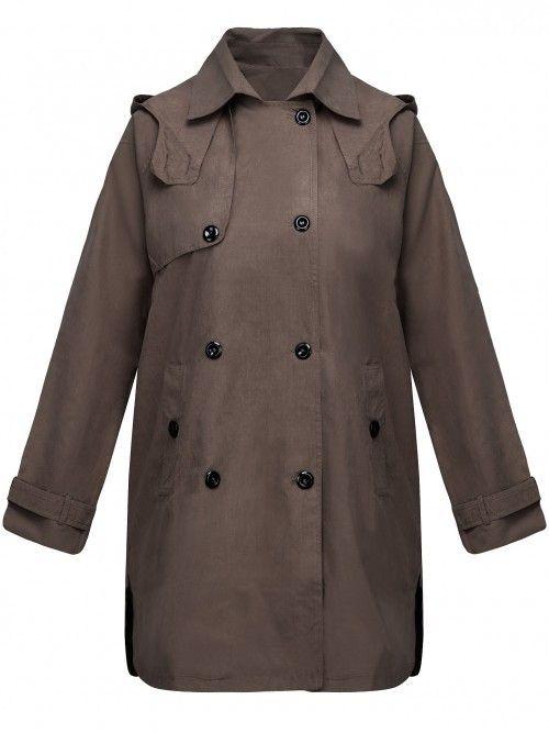 Wiosenny dwurzędowy płaszcz z kapturem