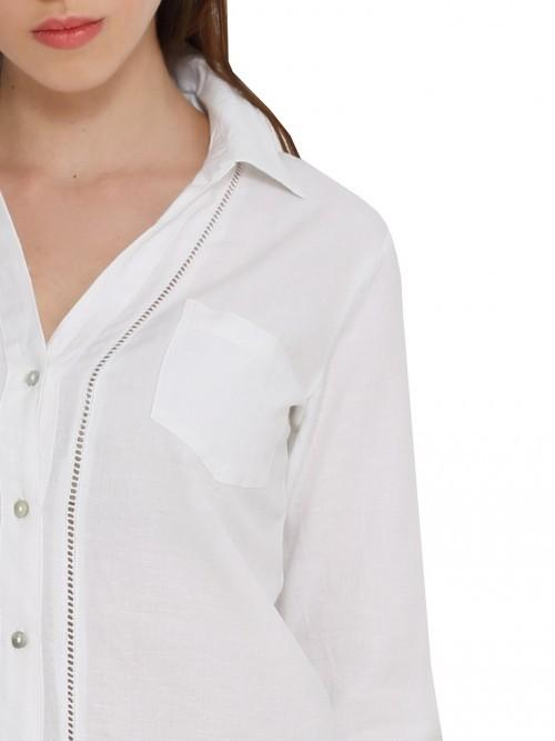 Bluzka rozpinana z lnem