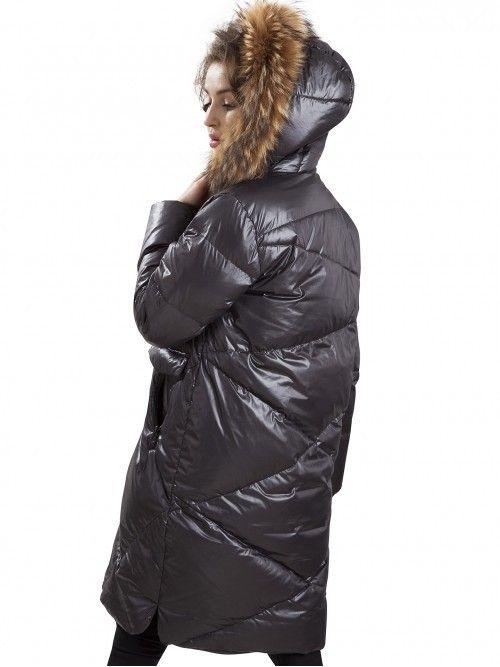 Puchowa satynowa kurtka z futrem jenota