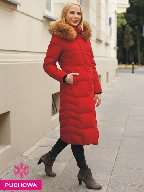 Długa puchowa kurtka z futrem