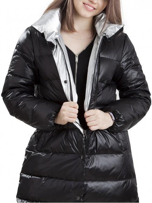 Płaszcz pikowany z akcentami srebra