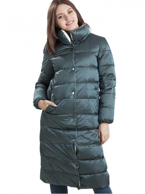 Puchowy płaszcz pikowany z akcentami srebra
