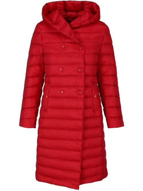 Dwurzędowy płaszcz puchowy z kapturem