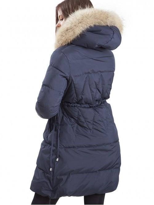 Taliowana pikowana kurtka z futrem