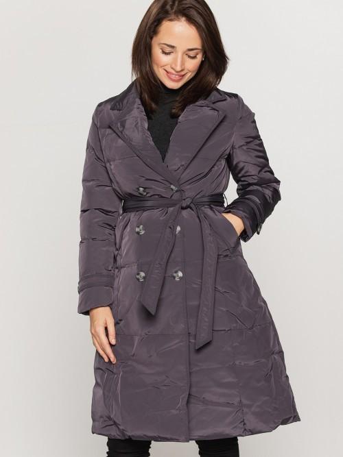 Dwurzędowy płaszcz puchowy z kołnierzem