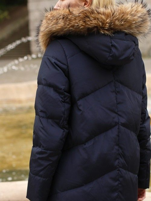 Płaszcz puchowy z kapturem