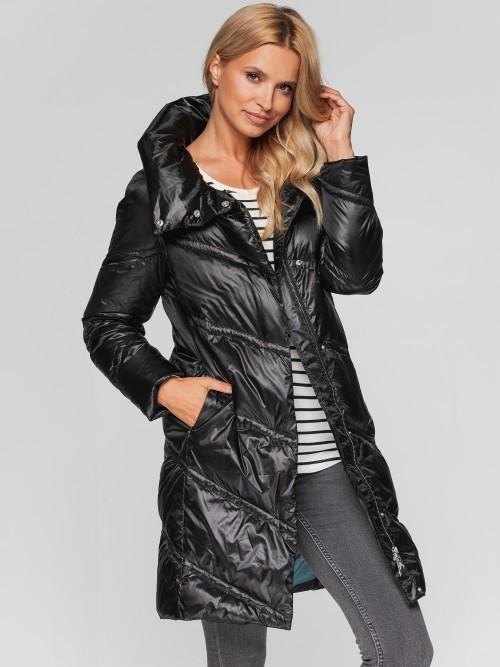 Płaszcz zimowy z ukośnym pikowaniem