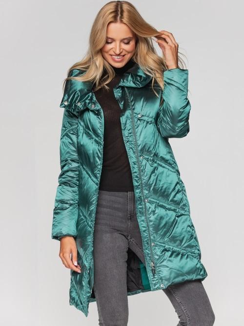 Puchowy płaszcz zimowy z ukośnym pikowaniem