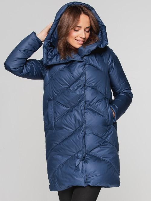 Puchowy płaszcz zimowy pikowany w jodełkę