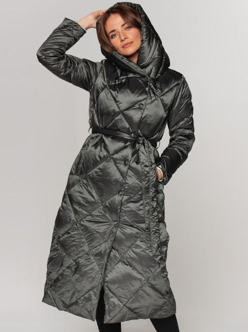Długi puchowy płaszcz w romby