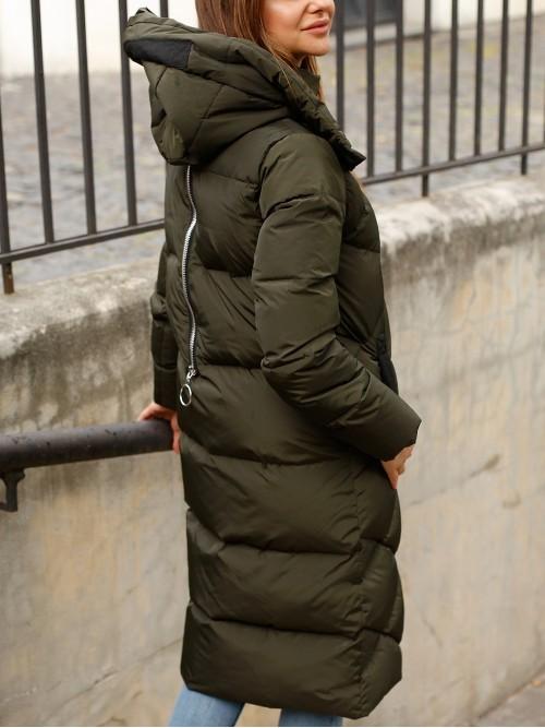 Długa pikowana kurtka puchowa